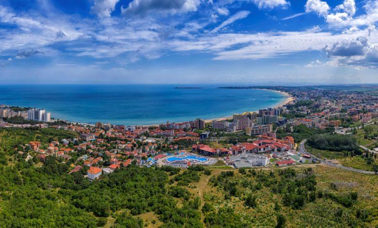 Изглед от дрон към Свети Влас, Слънчев бряг и Несебър